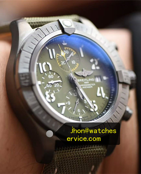 45MM Army Green Dial Breitling Avenger Chronograph DLC Coated Titanium