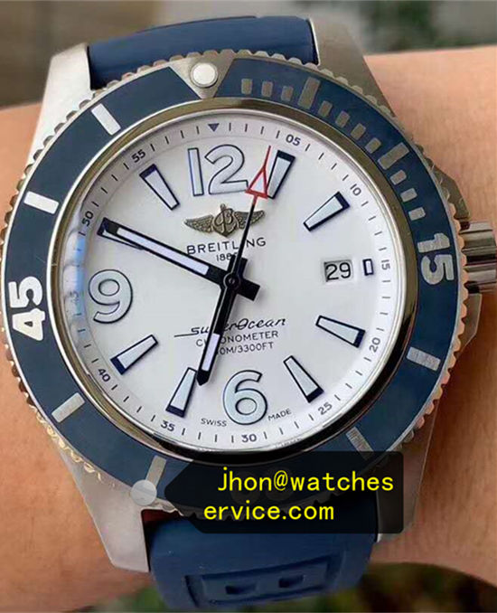 42MM White Dial Blue Bezel Superocean A17366D81A1S2