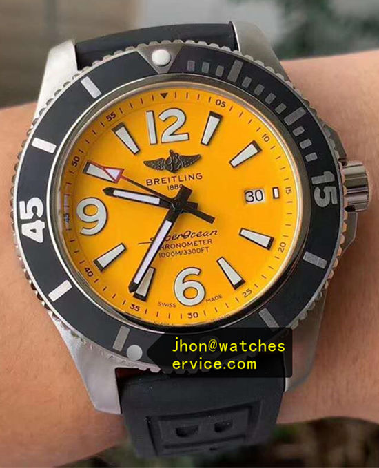 42MM Yellow Breitling Superocean A17366D71I1S1