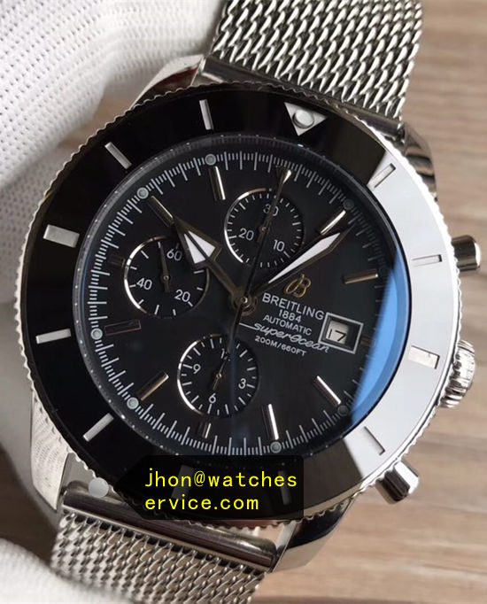 46MM Black Breitling Superocean Chronograph Mesh stainless steel replica watch