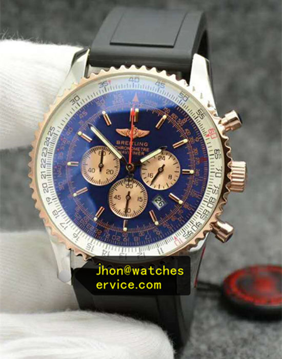 1:1 Blue 18k-Gold Breitling 43MM Rubber Strap
