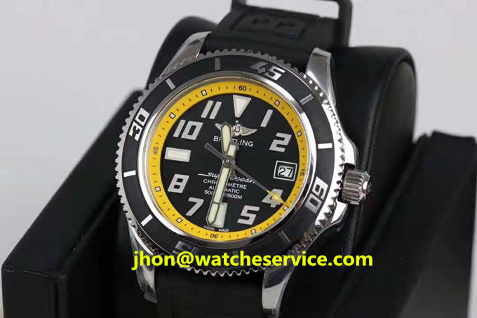 Replica Breitling Superocean 42MM Yellow Ring Steel Watch