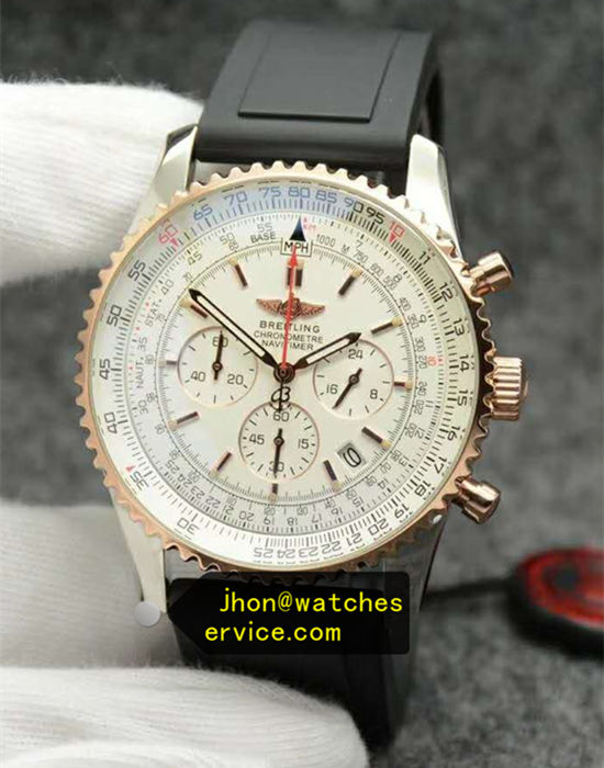 1:1 White 43MM Rose-Gold Breitling Rubber Strap