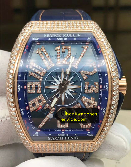 2020 Upgraded Franck Muller Gold Diamonds Yachting Blue