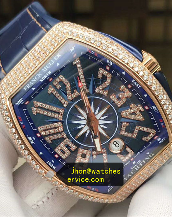 2020 Upgraded Franck Muller Gold Diamonds Yachting Blue replica watch