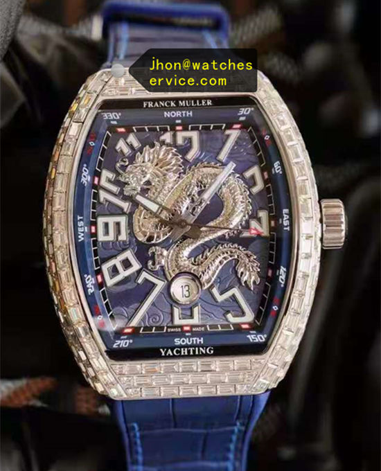 Blue Super Franck Muller Rock Sugar Cube Diamonds Dragon