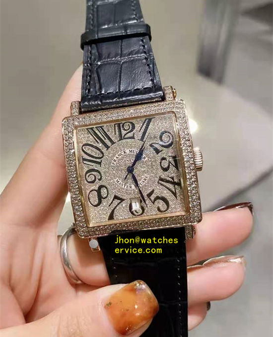Diamonds Franck Muller Master Square Black Cowhide Strap