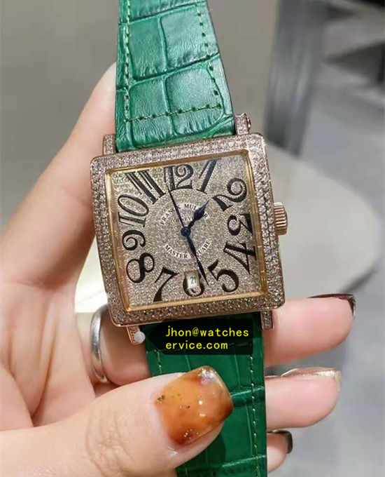 Diamonds Franck Muller Master Square Green Cowhide Strap