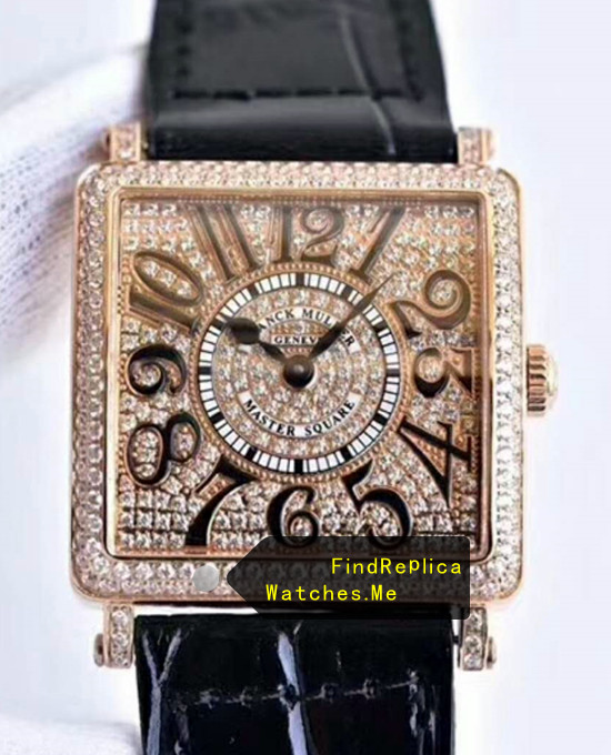 Fake Franck Muller Master Square Rose Gold Body With Diamonds Face Watch