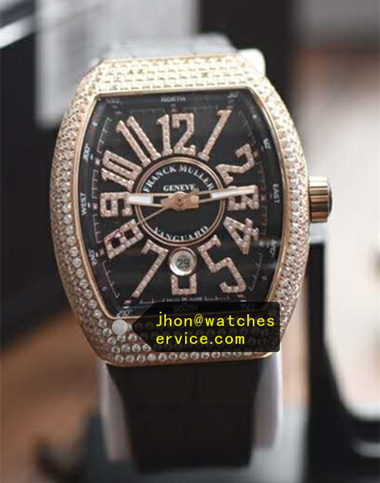 Franck Muller Vanguard V45 Black Face Diamonds Bezel
