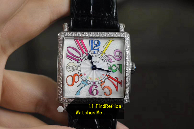 Replica Franck Muller Colorful Numbers With Diamond Bezel Watch