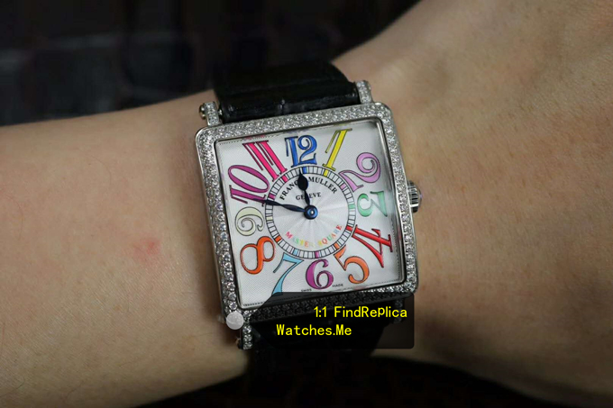 Replica Franck Muller Colorful Numbers With Diamond Bezel Watch on the Wrist