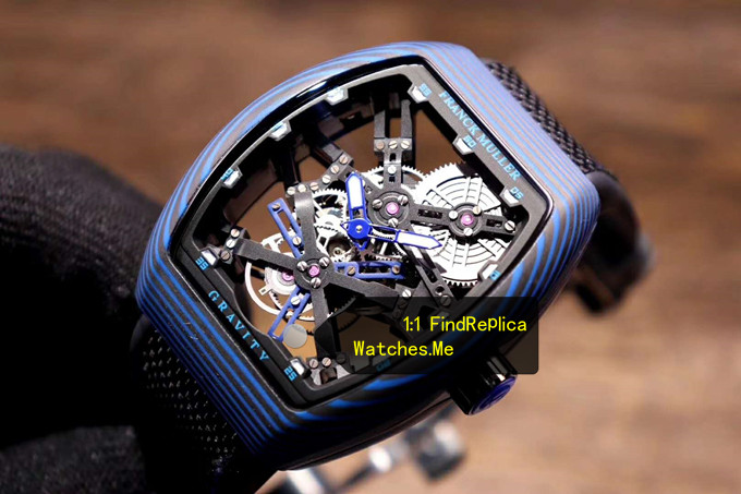 Replica Franck Muller Mens Collection V45 All Blue Fiber Tourbillon Watch