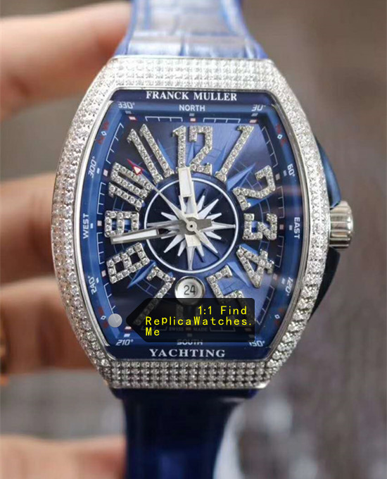 Franck Muller Yachting V45 Diamond Bezel With Blue Face Blue Strap