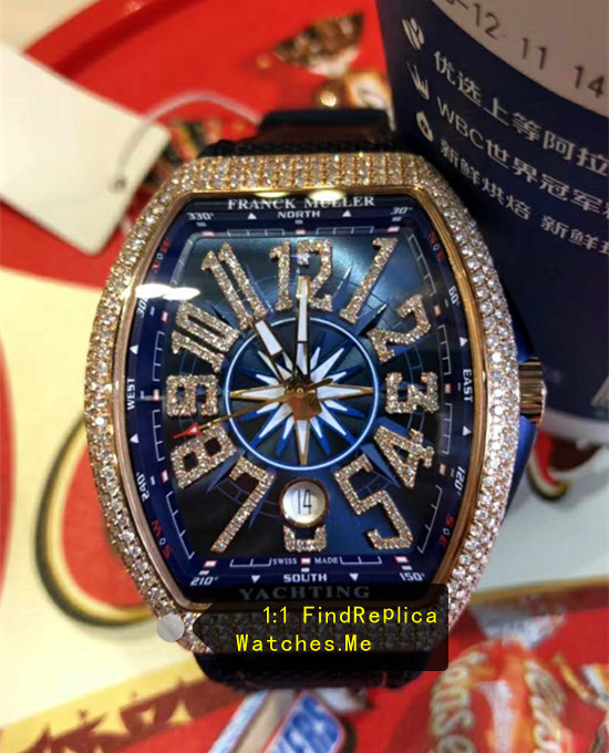 Fake Franck Muller Yachting V45 Rose Gold Diamonds Bezel Watch From N-Factory