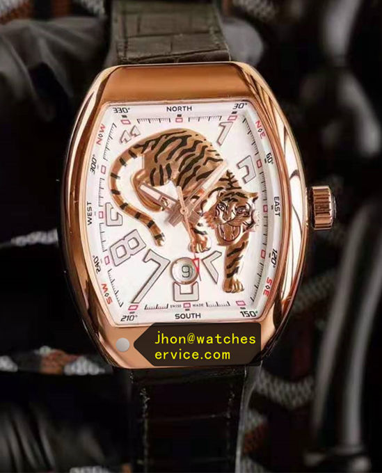 Rose Gold Tiger White Franck Muller Vanguard replica watch