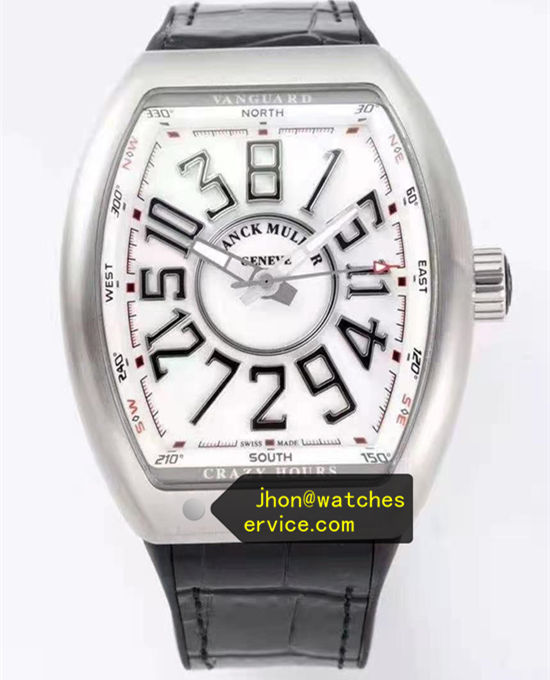 Steel White Franck Muller Mens Collection Crazy Hours