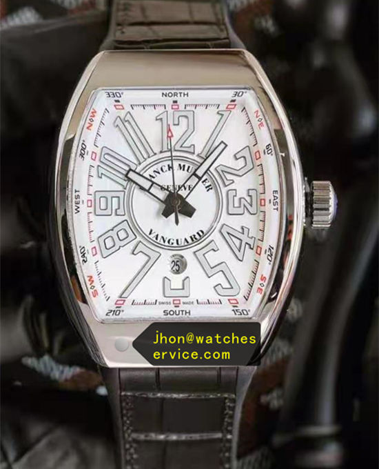 White Franck Muller Vanguard Steel Black Strap