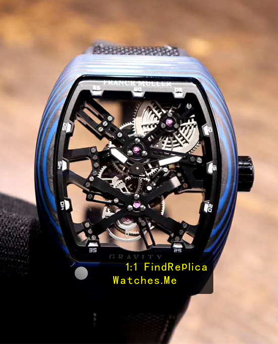 Franck Muller Mens Collection V45 Blue Colored Fiber Black Skeleton Tourbillon