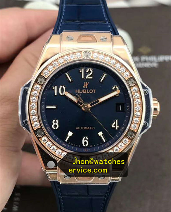 38MM Lady Blue Hublot Big Bang Steel White