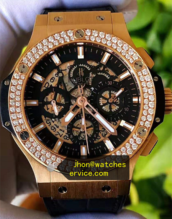 44mm Hublot Big Bang Mosang Diamonds Black Chronograph Circle