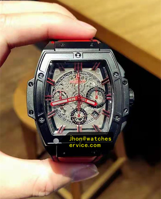 Black Steel Red Hands Hublot Spirit Big Bang