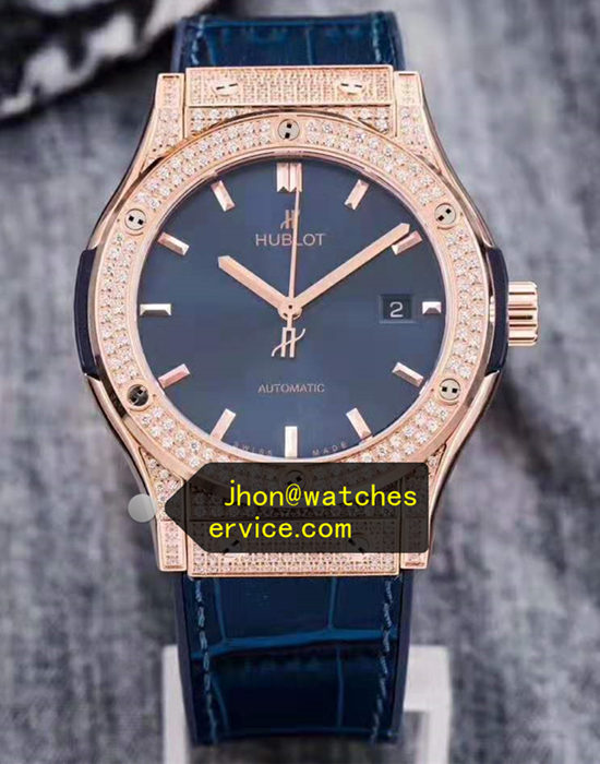 Blue Hublot Classic Fusion Diamonds Bezel