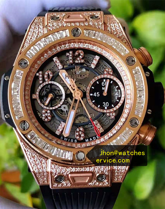 Diamonds King-Gold 45MM Hublot Big Bang 411-OX-1180-RX-0904