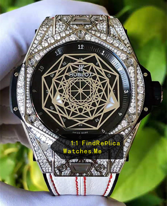 Hublot Big Bang Sang Bleu 45MM Silver Diamonds Gold Pattern Watch