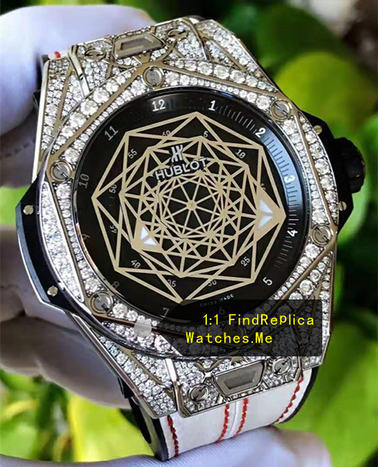 Fake Hublot Big Bang Sang Bleu Silver Diamonds Watch
