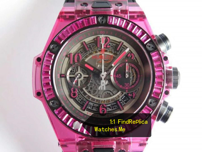 Fake Hublot Big Bang Unico 45MM Purple Thread Transparent Bezel Watch