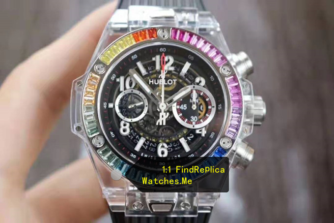 Fake Hublot Big Bang Unico 45MM Rainbow Transparent Watch
