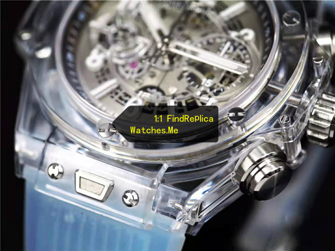 Fake Hublot Big Bang Unico 45MM Transparent With Light Blue Strap Watch