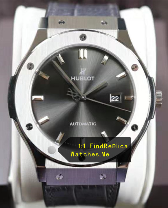 Hublot Classic Fusion Polished Titanium Gray Face Watch