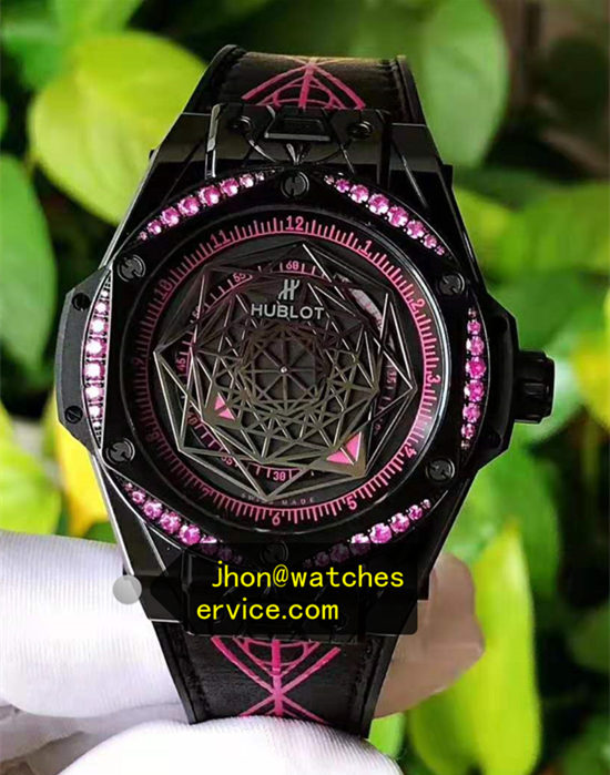 Lady Purple Diamond Hublot Big Bang 39MM Black Ceramic