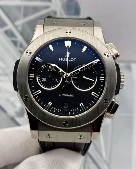 Polished Steel Black Dial Hublot Classic Fusion 45MM