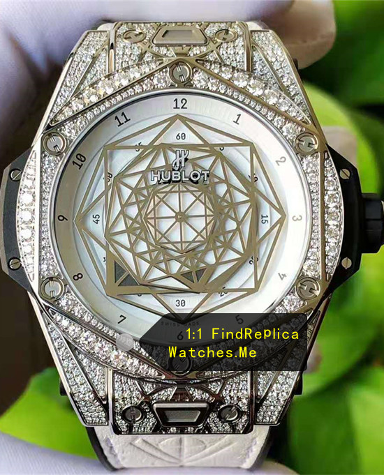 Replica Hublot Big Bang Sang Bleu Diamonds White Face Watch