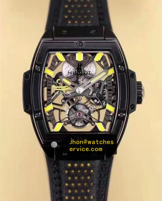 Yellow Time-Scale Black Hublot Spirit of Big Bang Tourbillon