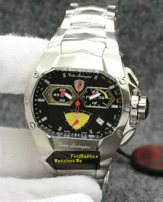 Lamborghini Watch Stainless Steel Yellow Black Dail
