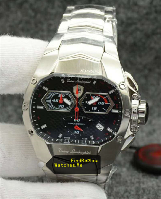 Lamborghini Watch Stainless Steel Black 78095