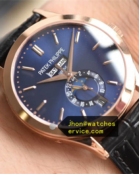 18k-Rose-Gold Moon Phases Blue Patek Philippe Complication 5396G-015