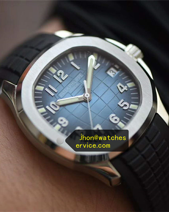 Gradient Blue Patek Philippe Aquanaut Black Strap