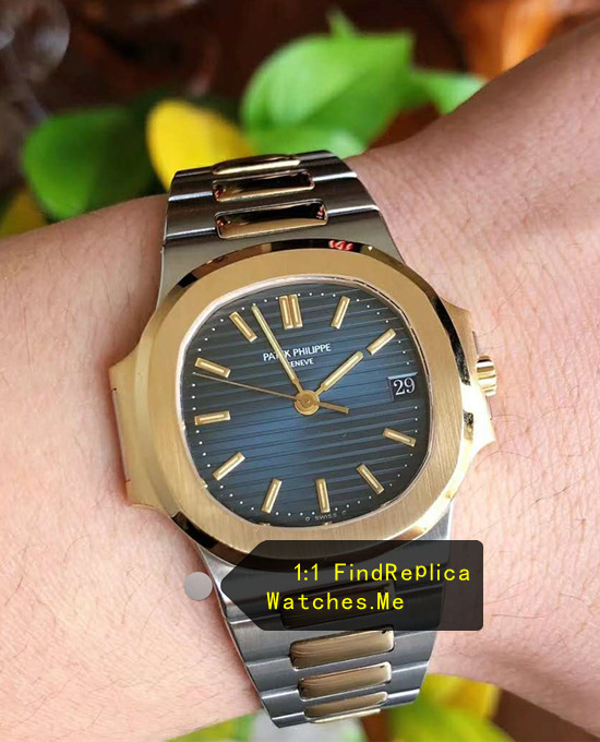 Replica Patek Philippe Nautilus 5711 Blue Face Gold Bezel Steel Watch
