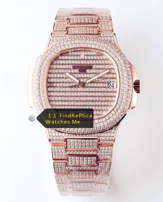 Patek Philippe Nautilus 5719 Rose Gold Inlaid Diamonds Watch