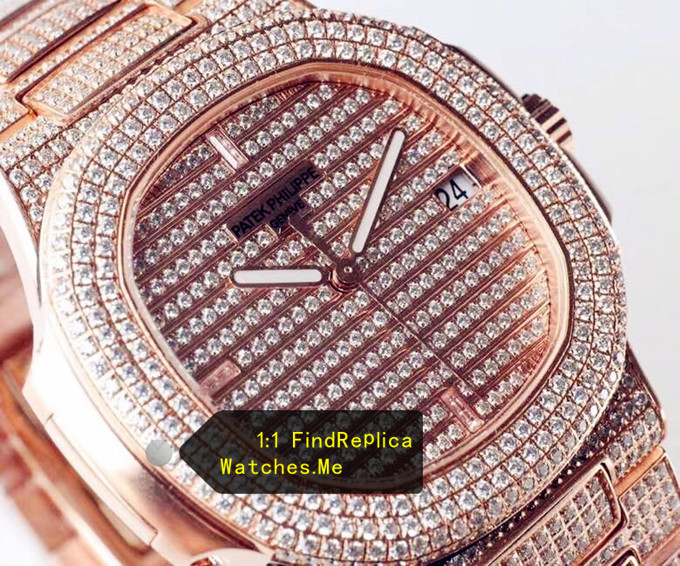 Replica Nautilus 5719 Rose Gold Inlaid Diamonds Watch