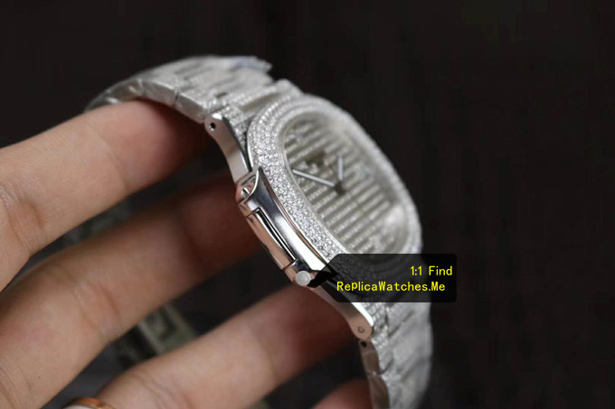 Replica Patek Philippe Nautilus 5719/10G-010 Full Diamonds side
