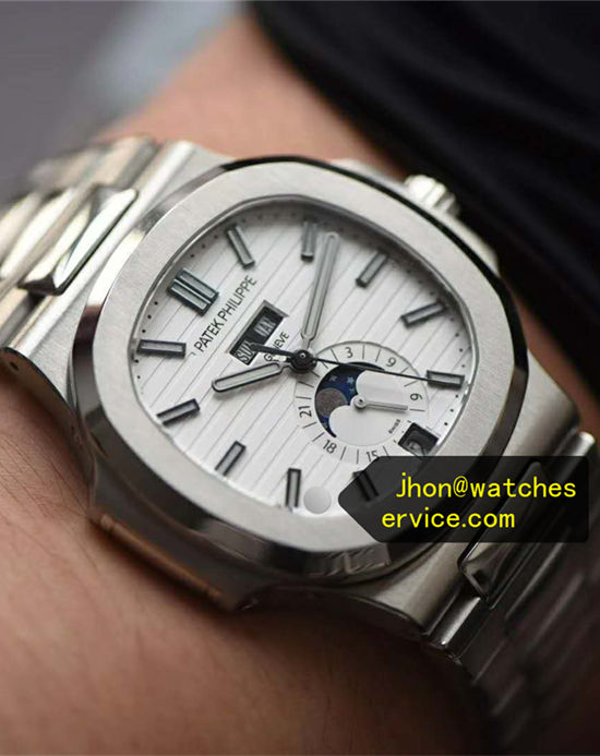 White Patek Philippe Nautilus 5726 Chronograph Moon Phase