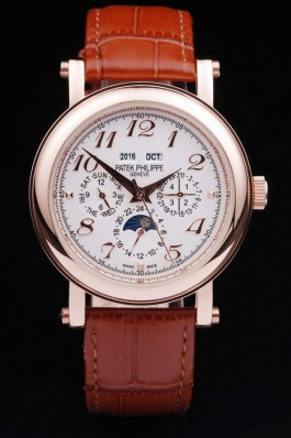 38MM Patek Philippe Rose Gold Brown Strap