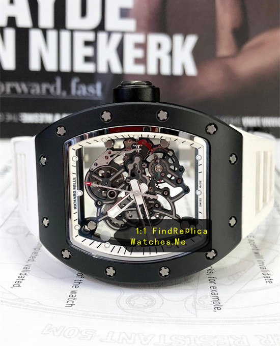 Replica Richard Mille RM 055 Black Ceramics Case With White Strap Watch