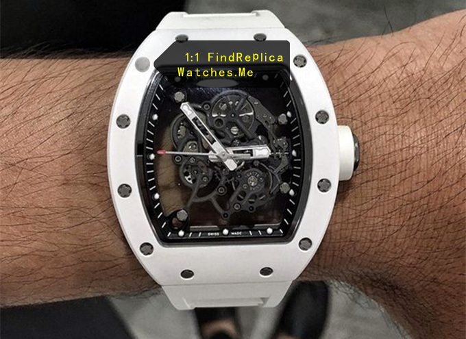 Replica Richard Mille RM 055 All White on the Wrist